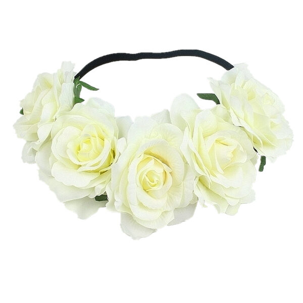 Artificial flower wreath - white