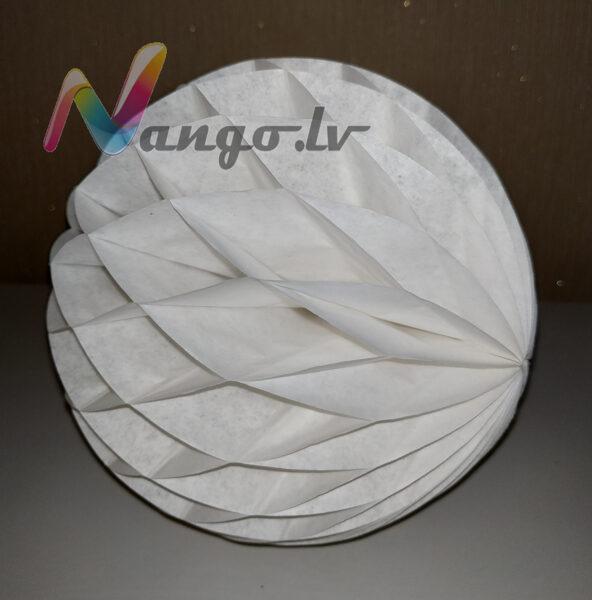 Papīra bumba - šūnu bumba - 15 cm - balta