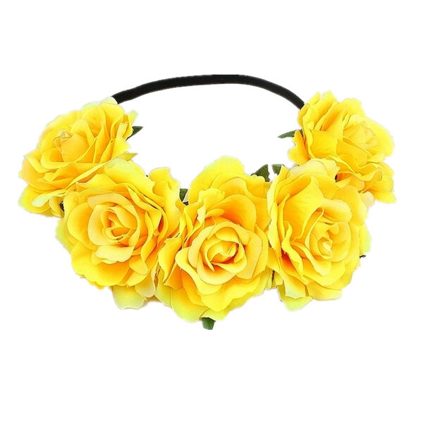 Artificial flower wreath - yellow