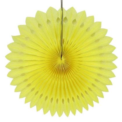 Atvērams papīra svētku dekors - rozete - 20 cm, dzeltena