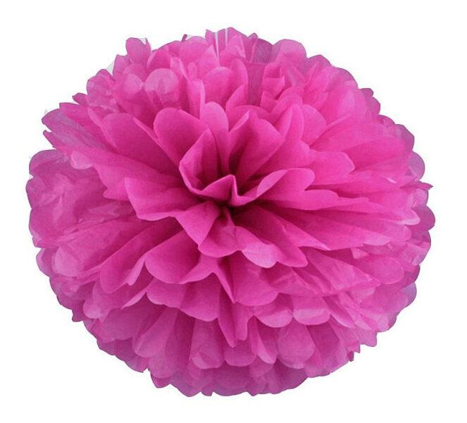 Pompons - zīdpapīra zieds - 15 cm - fuksija