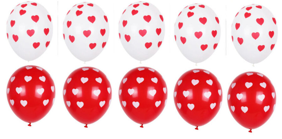 Balloons with hearts - set - 10 pcs