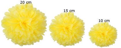 Pomponi papīra ziedi, komplekts 15 gab - dzeltens