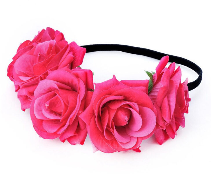 Artificial flower wreath - bright pink