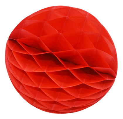 Honeycomb Ball Decoration 8 cm red