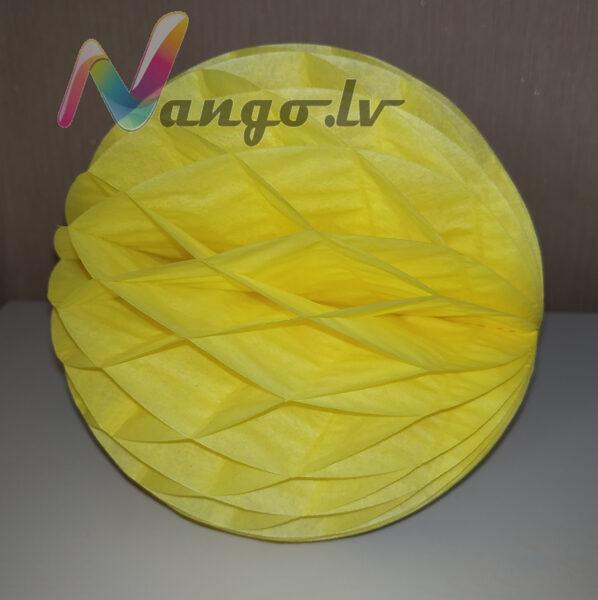 Papīra bumba - šūnu bumba - 15 cm - dzeltena