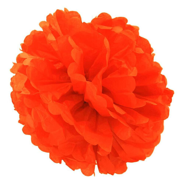 Pompons - zīdpapīra zieds - 15 cm - spilgti oranžs