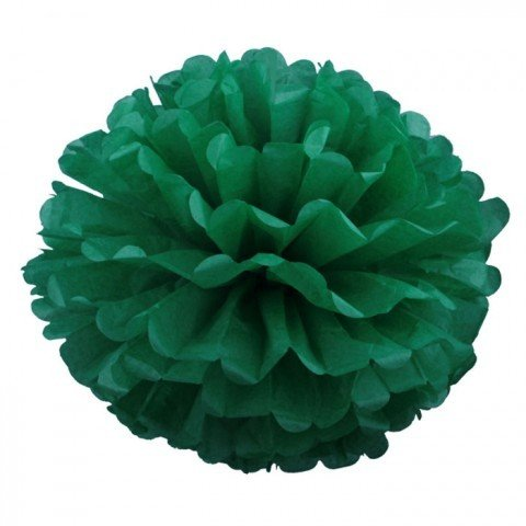 Pompons - zīdpapīra zieds - 15 cm - tumši zaļš
