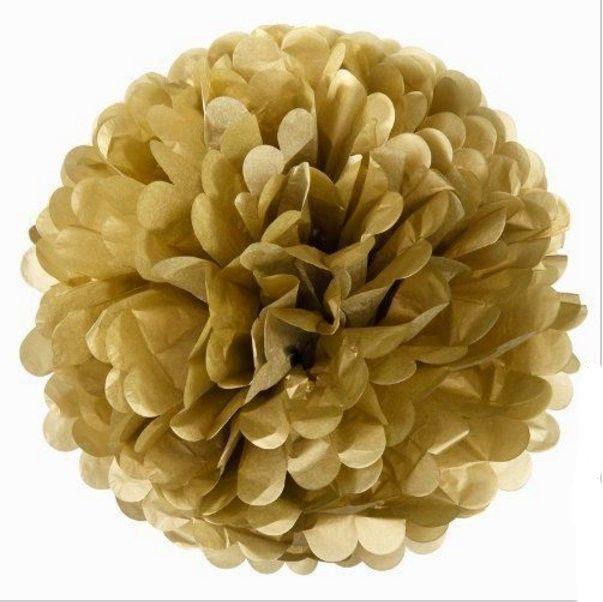 Pompons -15 cm - gold