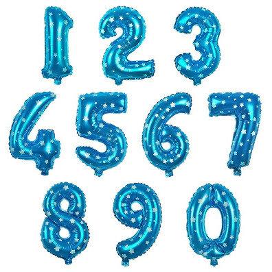 Balons cipars gaiši zila ar zvaigznītēm, 70 cm